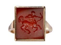 1920s Sagittarius Signet Ring
