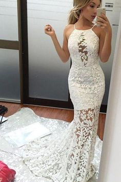 White Lace Prom Dresses, White Prom Dresses, 2018 Prom Dresses, Backless Prom Dresses, Prom Dresses For Cheap Prom Dresses 2019 Lace Prom Gown, Lace Mermaid Wedding Dress, Lace Evening Dresses, Mermaid Prom Dresses, Lace Dress, Dress Prom, Lace Wedding, Elegant Wedding, Evening Gowns
