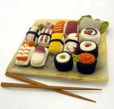 knitted sushi - for when I run out of wearable a to knit.