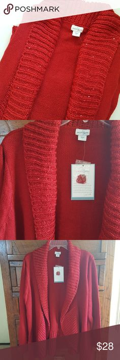 Jaclyn Smith || Plus Red Cardigan Sweater NWT Red with sequins around the trim. Body is 100% acrylic. The trim is 58% acrylic. 42% polyester. There is a pull shown in 5th picture . Jaclyn Smith Sweaters Cardigans