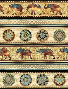 Елена Олейникова Elephant Quilt, Elephant Art, Persian Motifs, Pattern Wallpaper, Flower Wallpaper, Border Print, Decoupage Paper, Scrapbook, Indian Elephant