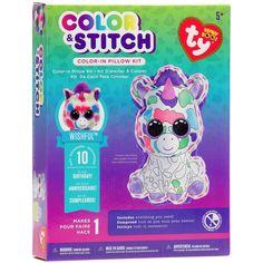 Darice Beanie Boos Color & Stitch Pillow Kit-Wishful Unicorn - wishful unicorn
