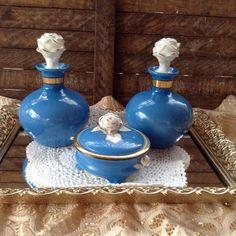Dresser Tray Perfume Bottles Porcelain Blue White Cabbage