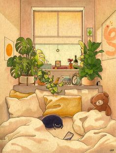 Cozy Space Mini Art Print by Felicia Chiao - Without Stand - 3 x 4 Anime Scenery Wallpaper, Cartoon Wallpaper, Kawaii Wallpaper, Aesthetic Art, Aesthetic Anime, Aesthetic Painting, Aesthetic Drawing, Art Kawaii, Art Mignon