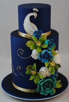 Peacock indian wedding cake