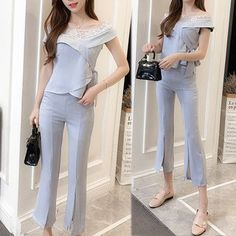 Buy Clospace Set: Lace Trim Short Sleeve Top + Cropped Boot Cut Pants at YesStyle.com! Quality products at remarkable prices. FREE Worldwide Shipping available!