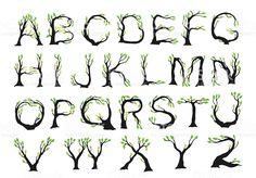 植物のフォント ロイヤリティフリー植物のフォント - 樹木のベクターアート素材や画像を多数ご用意