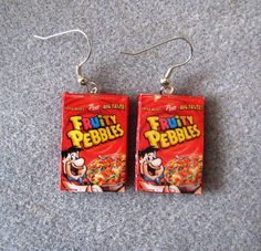 Fruity Pebbles Fred Flintstone Cereal Retro Kitsch Dangle Polymer Clay Junk Food Earrings Hypo Allergenic Nickle-Free on Etsy, $15.00