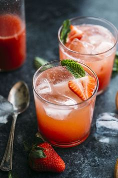 This Strawberry Grapefruit Shrub is a refreshing nonalcoholic drink that you'll LOVE   http://thealmondeater.com