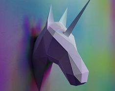 Unicorn Head Papercraft - PDF unicorn pattern, Fairytale gifts, Paper sculptures DIY, Unicorn theme, Unicorn head, DIY unicorn