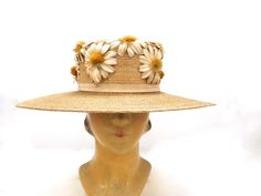 Gorgeous Women's Antique Straw Hat Wide Brim Victorian Daisies Applique Large