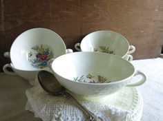 Vintage Wedgwood Soup Bowls and Saucers Fine Bone by WrensAttic