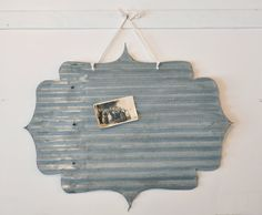 Salvaged Tin Frame Magnet Board by rescuedjunk on Etsy, $34.00