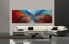 ROJO pintura abstracta Original arte de la lona por largeartwork