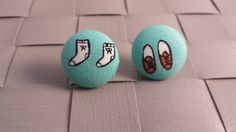 Items similar to Socks and Shoes Fabric Covered Button Post Earrings Inch] on Etsy