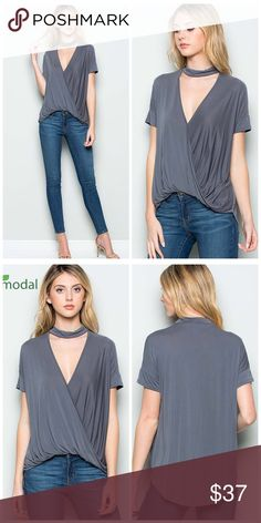 Modal chocked drape front top Charcoal gray choker top beautiful drape top made in Modal material Tops