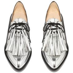 Jasper Tassel Oxford ❤ liked on Polyvore featuring shoes, oxfords, flats, silver shoes, oxford flat shoes, flat pumps, silver flats and flat heel shoes