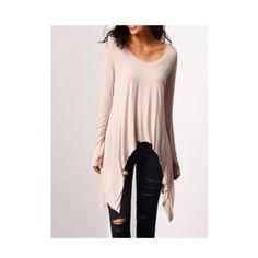 NEW In!!  Asymmetric Long sleeves shirt. Asymmetric Long sleeves shirt.   Round neck with thumb holes.  Very soft and comfy (perfect for spring weather). Materials: Cotton.   abalone in S-M. Tops Tunics