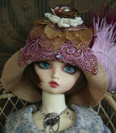 Light Coco Hat With Hand Dyed Rose Venesian Lace Hat by roweena23 via Etsy