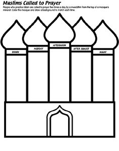 Muslims Called to Prayer coloring page - 5 pillars of islam Eid Crafts, Ramadan Crafts, Ramadan Decorations, 5 Pillars, Pillars Of Islam, Ramadan Activities, Activities For Kids, Pinterest Color, Islamic Studies