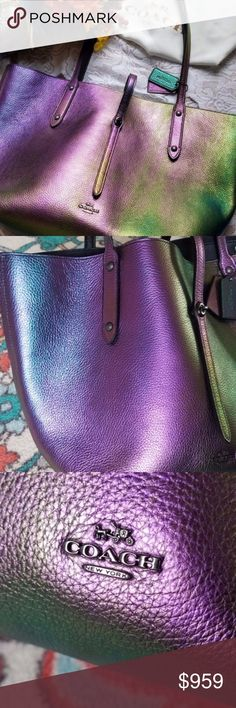 """Coach Iridescent Hologram Market Tote ORIGINAL NWT Coach iridescent hologram market tote new with tag and dust cover. Comes from a smoke-free pet-free home. This beautiful bag changes colors in all different lighting's. Has hints of purple pink green turquoise and yellow and pink. Measurements are 12.25""""L x 11.25""""H x 6""""W. The leather pebbled hologram and it is super soft. Original release, rare. When purchased the purse will be sent to the Poshmark Concierge service for inspection and to…"""