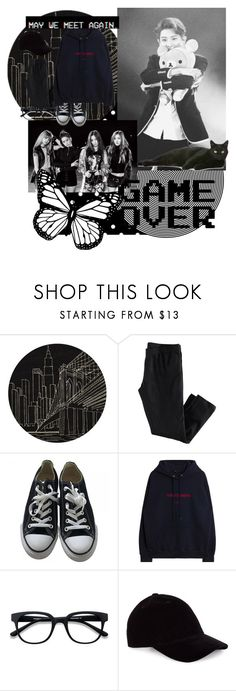 """""""Back in Black"""" by kawaiirasberrytea ❤ liked on Polyvore featuring Momeni, H&M, Converse, GET LOST, EyeBuyDirect.com and Le Amonie"""
