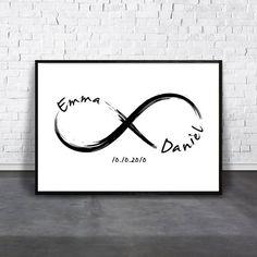 Personalize Infinity, Custom Love Print, Couple Name Wall Art, Date Artwork, Printable Wedding Gift, Custom Anniversary, Personalized Match