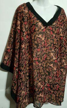 dde259da7d Lane Bryant Plus size 26 28 Blouse Kimono Sleeves polyester floral print  tunic