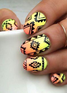 Orange neon tribal nails @ninanailedit