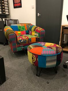 Afrotechnicolour Waxblock print patchwork Century Modern Chair and Ottoman stool By Ray Clarke Patchwork Chair, Modul Sofa, Colourful Living Room, Funky Furniture, Upholstered Furniture, Modern Chairs, Modern Ottoman, Chair And Ottoman, Soft Furnishings