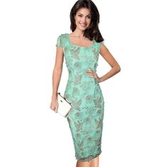 Elegant 3D Flower Embroidery Bodycon Dress //Price: $37.48 & FREE Shipping //     #trends