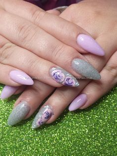 Lilac and silver glitter acrylic and one stroke flower nail art