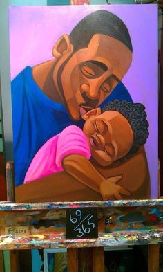 sLeepin by Cbabi Bayoc Loving 365 Days with Dad, African American Fathers With Their Children, check it out Black Dad, Black Fathers, African American Artwork, African American History, Art Pictures, Art Images, Arte Hip Hop, Black Love Art, Black Artwork