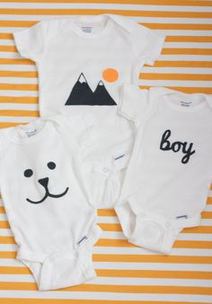 From bitty booties to bow ties and beanies, we're sharing 23 jaw-droppin' cute baby clothing DIYs that you have to try! From bitty booties to bow ties and beanies, we're sharing 23 jaw-droppin' cute baby clothing DIYs that you have to try! So Cute Baby, Baby Kind, Cute Babies, Onesie Diy, Boy Onesie, Onesies, Baby Outfits, Baby Boys, Freezer Paper Stenciling