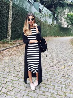 Big fan of a stripy bodycon dress - find them at Zefinka.com ღ | Stunning and stylish outfit ideas from Zefinka.com for fashionable women.