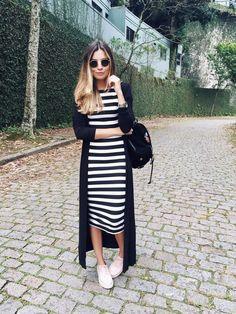 my kinda style - Jessica Velasco - vestido_midi_listrado Modest Outfits, Modest Fashion, Summer Outfits, Fashion Outfits, Womens Fashion, Fashion Trends, Modest Wear, Fashion Ideas, Look Casual Chic