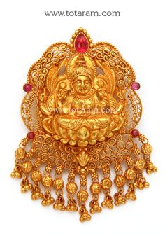 22K Gold 'Lakshmi' Pendant (Temple Jewellery)