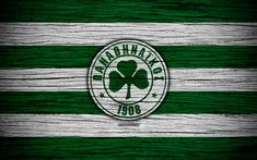 Download wallpapers Panathinaikos FC, 4k, wooden texture, Greek Super League, soccer, football club, Greece, Panathinaikos, logo, FC Panathinaikos