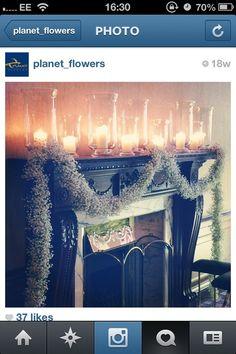 Gypsophila Wreath + Candles Christmas Wedding Flowers, Gypsophila, Flower Photos, Beautiful Things, Table Settings, Xmas, Candles, Wreaths, Photos Of Flowers