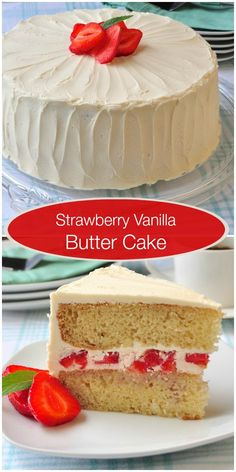 A simple moist vanilla butter cake with easy vanilla frosting and diced strawberries combined with the frosting at the center. Simple but delicious.