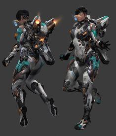 Robot Concept Art, Armor Concept, Character Concept, Character Art, Character Design, Mode Cyberpunk, Gato Anime, Female Armor, Futuristic Armour