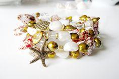 Shell Memory Bracelet,Coil Bracelet, Wrap Bracelet, Beach Jewelry, Starfish Charms