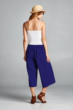 Everyday Wide Leg Culottes With Pockets