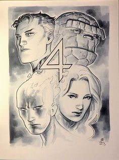 Fantastic Four by Jim Cheung - Cool Comic Art ( Comic Book Artists, Comic Book Characters, Marvel Characters, Comic Artist, Comic Character, Comic Books Art, Character Sketches, Marvel Comics, Marvel Art
