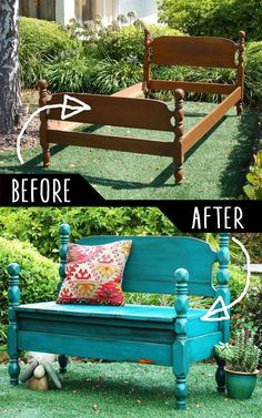 DIY Furniture Hacks Bed Turned Into Bench Cool Ideas for Creative Do It Yourself Furniture Cheap Home Decor Ideas for Bedroom Bathroom Living Room Kitchen a href reln. Diy Furniture Hacks, Refurbished Furniture, Repurposed Furniture, Cheap Furniture, Furniture Projects, Furniture Making, Furniture Makeover, Home Projects, Painted Furniture