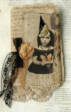 MIXED MEDIA FABRIC COLLAGE BOOK OF HALLOWEEN GIRLS | eBay