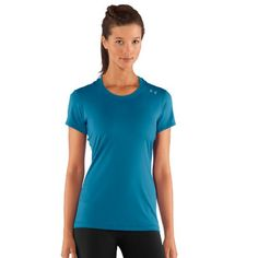 Women's HeatGear® Sonic Shortsleeve Tops by Under Armour Medium Deceit Description    Super-light HeatGear® fabric delivers superior coverage without weighing you down. Signature Moisture Transport System wicks sweat to keep you dry and light. Lightweight, 4-way stretch fabrication improves range of motion and recovers fast. Anti-microbial technology keeps your gear fresher, longer. Smooth matte finish with a technical feel. Contrast stitching and necktape. 4.47 oz Polyester/Elastane…