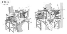 ArtStation - sketch tree houses 1,2, Sergey Shilkin