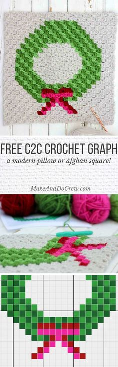 The final corner to corner Christmas crochet pattern in this nine square series is a modern, monochromatic holiday wreath. Crochet all the squares for a festive Christmas afghan or choose your favorites to make throw pillows!