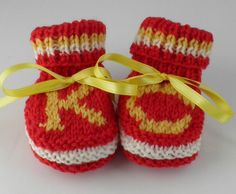 Hand knit Kansas City Chiefs Baby Booties. So cute!!!!